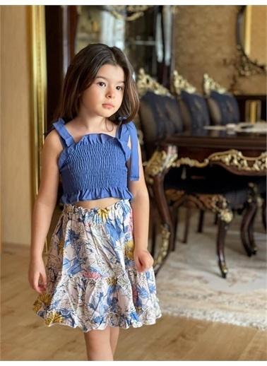 Hilal Akıncı Kids Kiz Çocukgıpelı Bluz Desenlı Salaş Etek Ikılı Takim Mavi